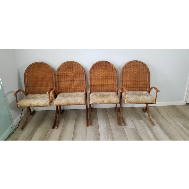 Wicker Vintage McGuire Style Woven Wicker Arm Dining Chairs - Set of 4 For Sale - Image 7 of 13