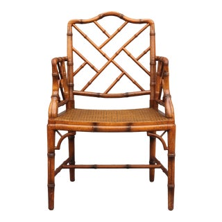 Vintage Faux Bamboo Campaign Style Caned Armchair For Sale