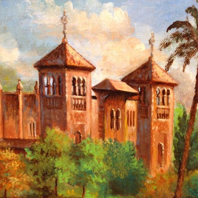 Plaza De America, Seville Spain - Oil Painting For Sale - Image 9 of 11