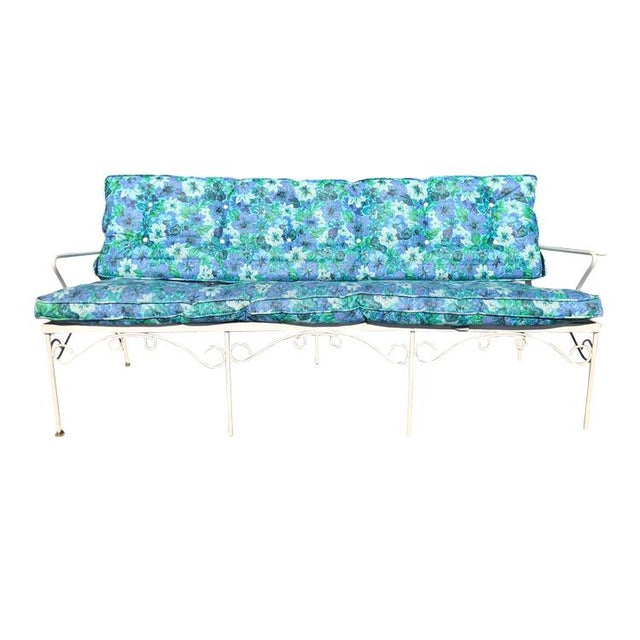 This set is indoor/outdoor and comes with water-resistant vinyl cushions. This set is circa 1960s and the cushions are...