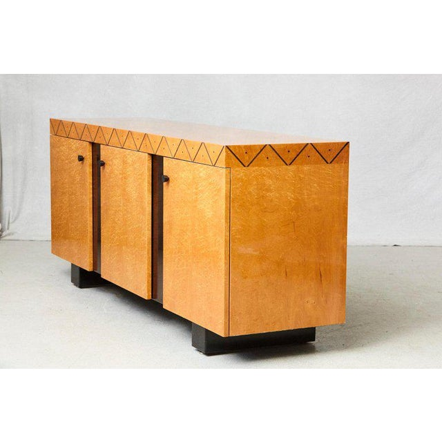 Pace 'Boca' collection Memphis Style inspired credenza with high gloss lacquered maple veneer, zig-zag ebony inlay...