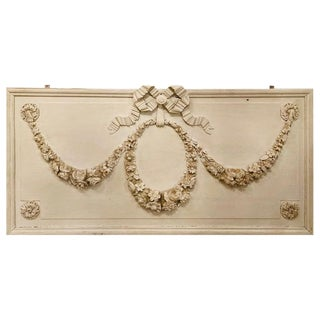 Swedish Over Door Palatial Carved Wood Panel Painted White, French, 19th Century For Sale
