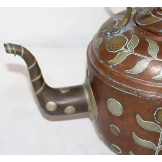 Early 19th Century Spanish Decorated Copper Gooseneck Kettle Pot For Sale In Los Angeles - Image 6 of 6