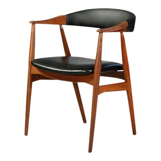 Mid Century Modern Th.Harlev Armchair in Teak and Black Leatherette Farstrup Mobler For Sale