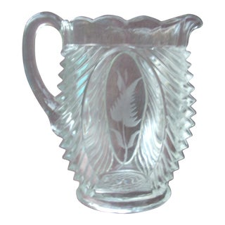Floral Pressed Glass Pitcher For Sale