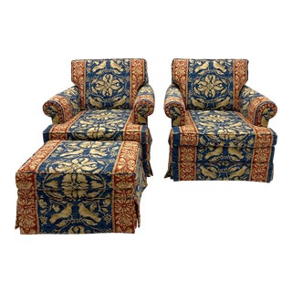 Vintage Blue Swivel Club Chairs and Ottoman - a Pair For Sale