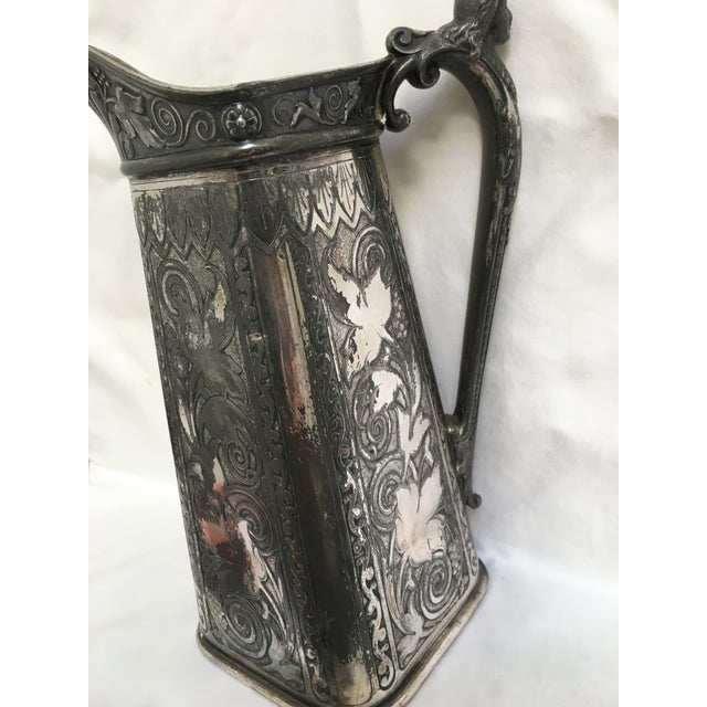 Late 19th Century Antique James Tufts Silver Plate Pitcher & Tray For Sale - Image 12 of 13