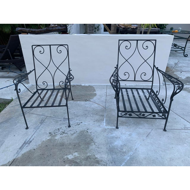 Black Grape Wrought Iron Patio Lounge Arm Chairs - a Pair For Sale - Image 8 of 8