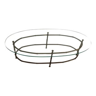 Vintage Faux Bamboo Bronzed Metal & Glass Oval Coffee Table For Sale