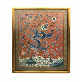 19th Century Imperial Chinese Silk Embroidery 'Dragon' Tapestry