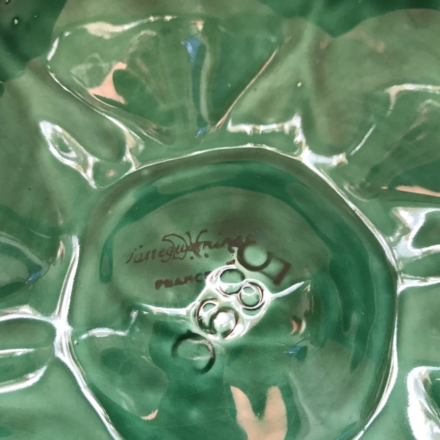 Green French Glazed Oyster Plates-Pair For Sale - Image 10 of 11