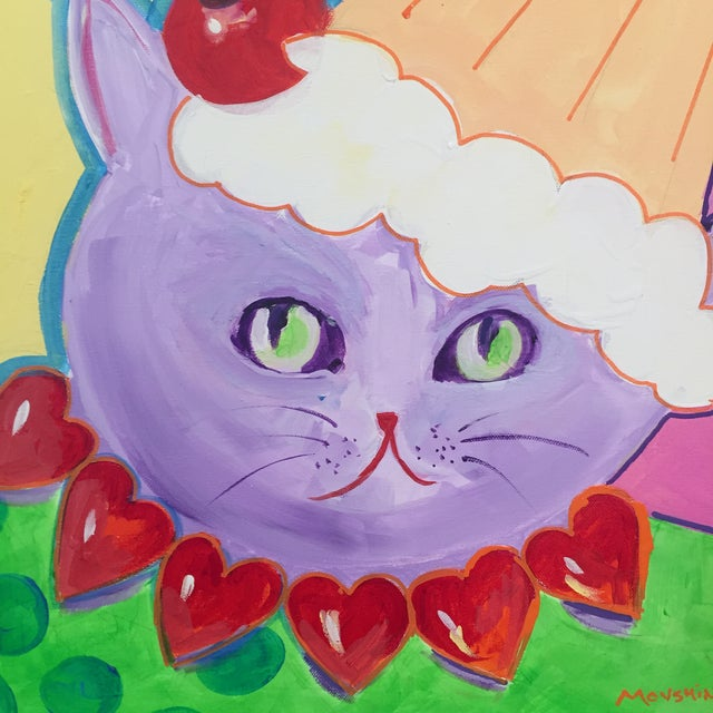 Pop Art Painting of The Valentine Cat With the Cupcake Hat For Sale - Image 3 of 5
