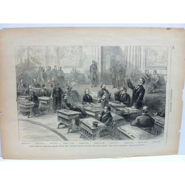 "This is an Antique Pictorial Battles of the Civil War Print that is titled ""Expulsion of Senator Bright from the United..."
