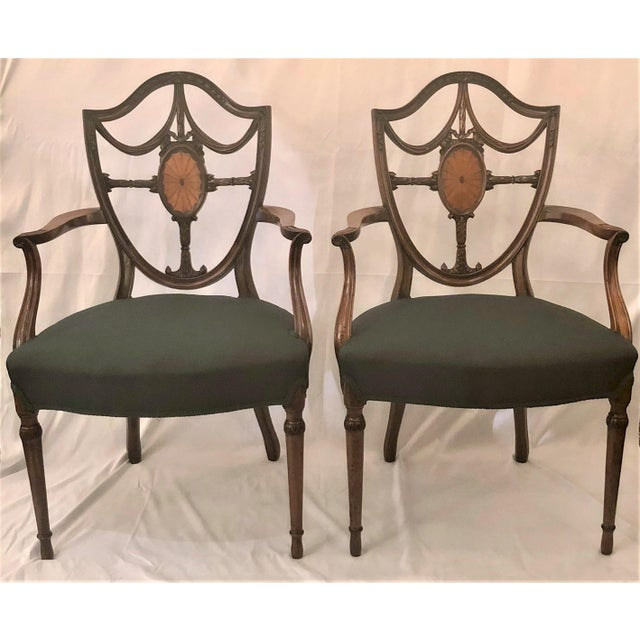 Late 19th Century Pair Antique English Shield Back Mahogany Arm Chairs, Circa 1870-1890. For Sale - Image 5 of 5