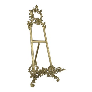 Large Victorian Brass Art Easel For Sale