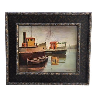 1950's Italian Framed Oil Painting on Canvas of Harbor by Luciano Riso For Sale
