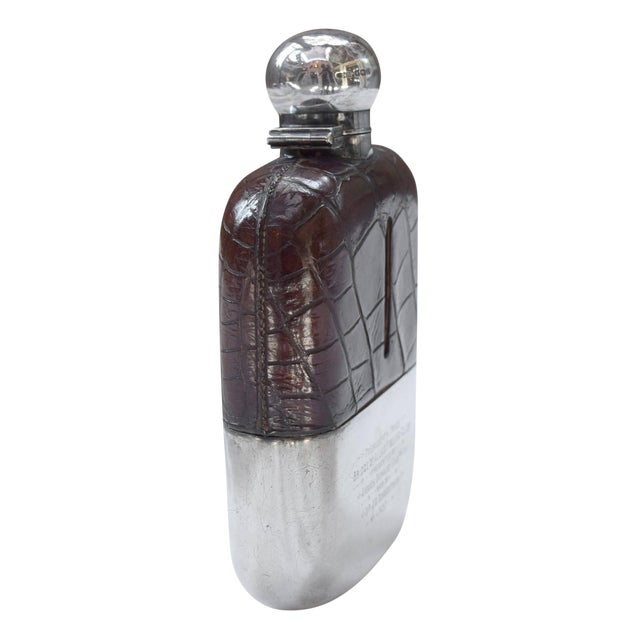 Bridge of Allan Fishing Club Sterling Silver and Alligator Hip Flask - Image 1 of 3