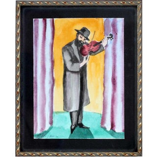 """The Musician"" Watercolor Painting by Erik Freyman For Sale"