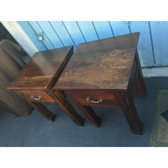Wood Rustic Side Tables - A Pair - Image 4 of 6