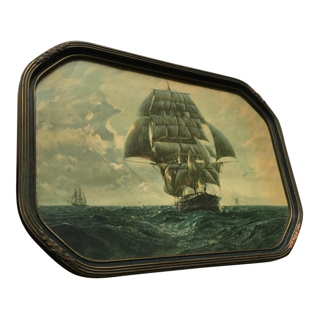 Antique Framed Ship Print For Sale