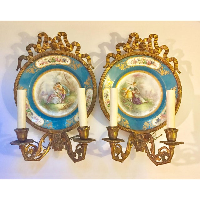Antique Plate Wall Sconces - A Pair - Image 11 of 11