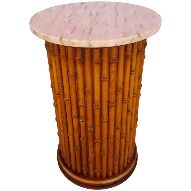 Faux Bamboo Marble Topped Cylindrical End Table For Sale