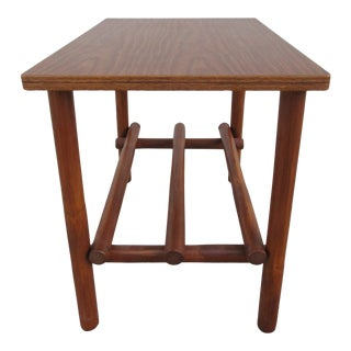 Bamboo Side Table With Faux Walnut Laminate Top For Sale
