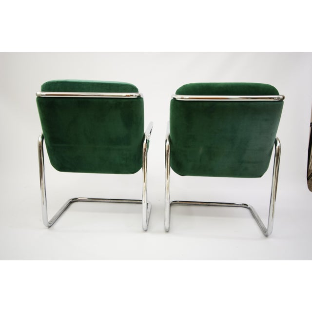 Dunbar Reversed Cantilever Tubular Chrome Chairs - A Pair - Image 6 of 7