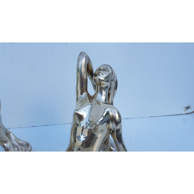 Vintage Solid Brass Nude Women Sculptures - A Pair - Image 7 of 8