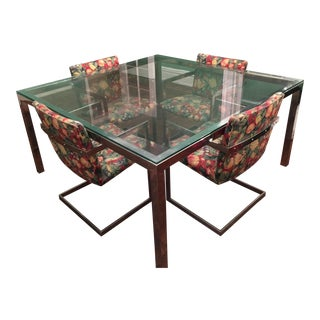 Vintage Roche Bobois Modern Chrome & Glass Dining Table & Chairs - Set of 5