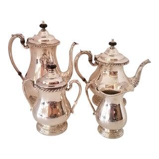 Art Deco Silver Plate Coffee & Tea Service Hollowware by Friedman - 4 Pieces For Sale