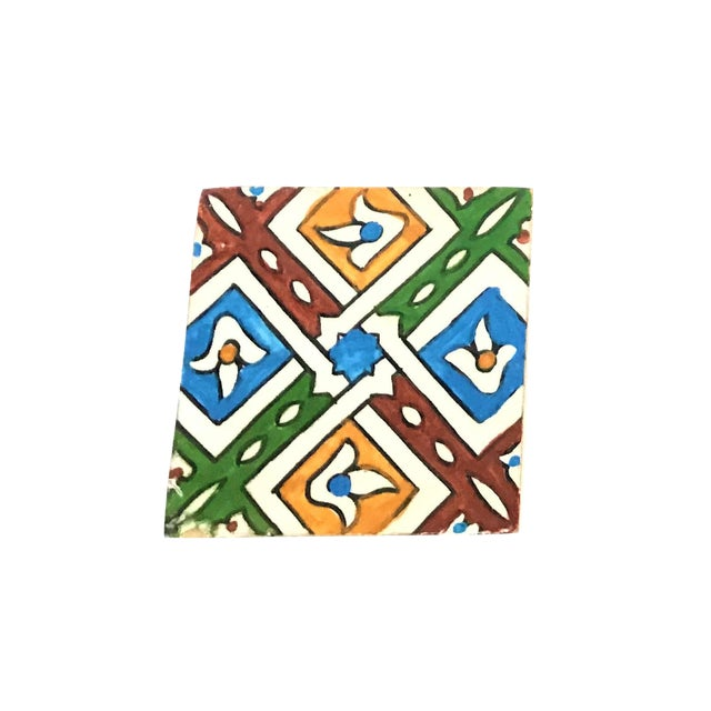 Hand Painted Small Moroccan Decorative Cement Tile - Image 1 of 2