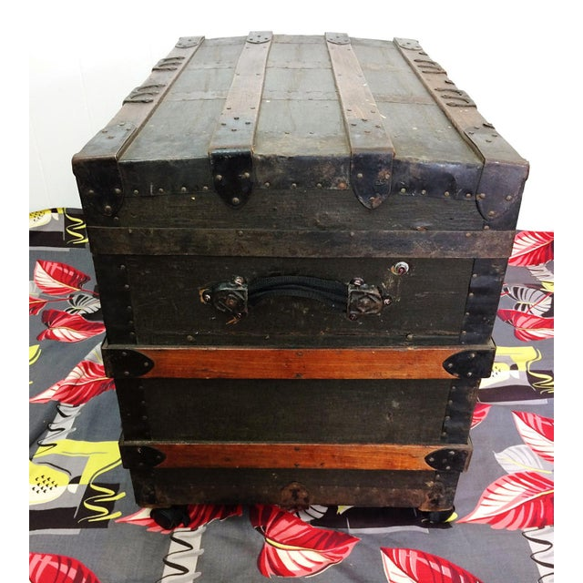 Antique Wood Steamer Trunk with Key - Image 8 of 10