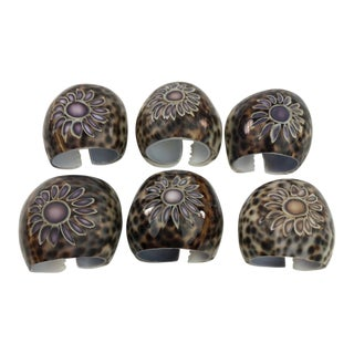 Vintage Carved Natural Tiger Cowrie Shell Napkin Rings - Set of 6 For Sale