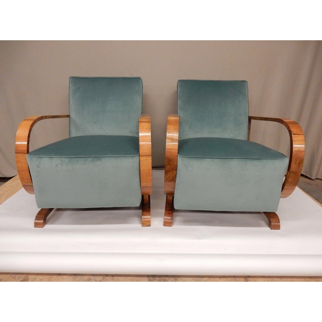 Wood 1930's Art Deco Upholstered Walnut Armchairs - a Pair For Sale - Image 7 of 7