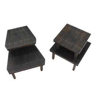 Mid-Century Modern Cerused Finish Step End Tables - Set of 2 For Sale