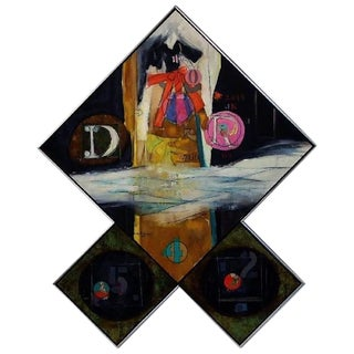 Oil on Canvas and Collage Triptych by Walter Feldman, 1975 For Sale