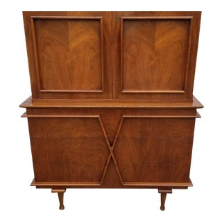 American of Martinsville Walnut X-Front Tall Chest For Sale
