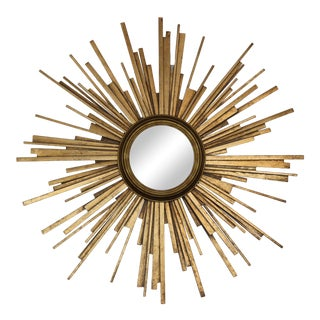 Mid-Century Modern Sunburst Mirror Gilded Patinated Dimensional Rays For Sale