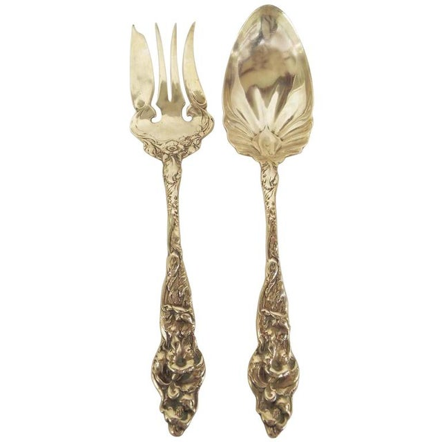 Sterling Silver Serving Spoon and Fork For Sale - Image 11 of 11