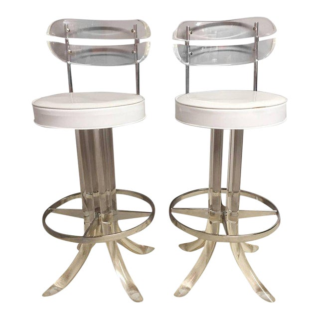 Lucite, Chrome and Patent Leather Bar Stools - A Pair - Image 1 of 7