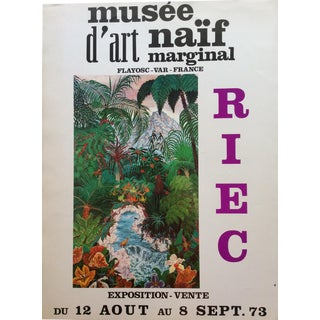 Nature Depicted 1970s Vintage Riec Exhibition Musee d'Art Naif Marginal Art Poster For Sale