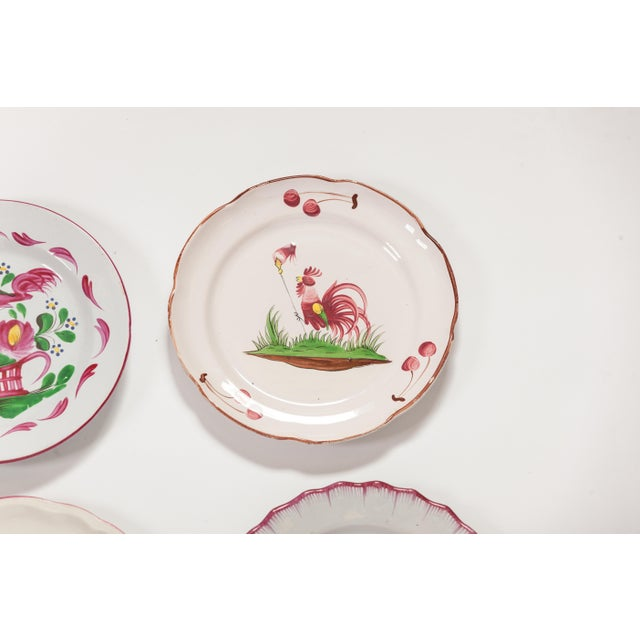 6 Piece Rooster Themed Pottery Plates For Sale - Image 4 of 8
