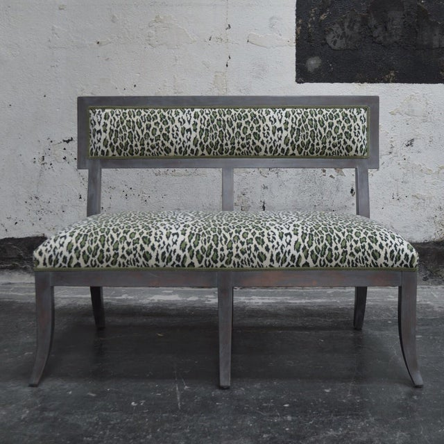 Green Gray Dining Banquette in Green Leopard For Sale - Image 8 of 8