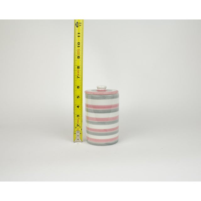 Italian Ceramic Lidded Grey and Pink Stripped Containers For Sale - Image 10 of 11