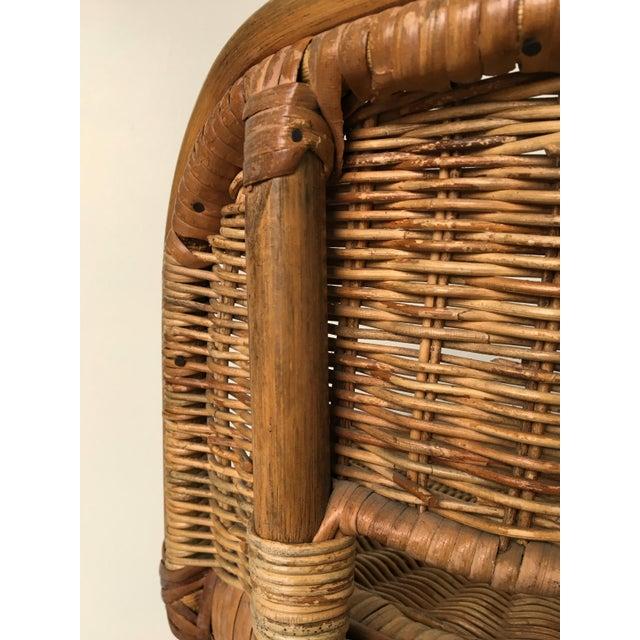 Vintage Boho Bamboo Swivel Counter Stools - A Pair - Image 6 of 6