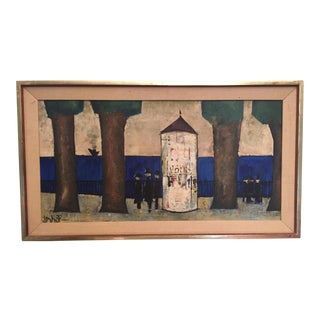 Original Mid-Century Modern Signed Oil Painting on Canvas For Sale