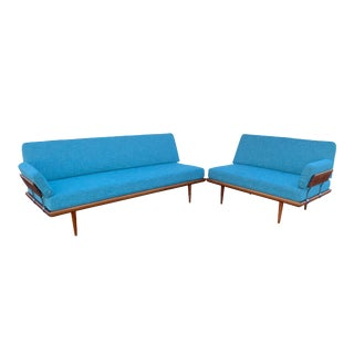 "1960s Vintage Peter Hvidt Danish Modern Teak ""Minerva"" Sectional- 2 Pieces For Sale"
