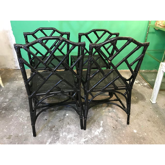 Vintage Italian Rattan Chippendale Chairs-Four For Sale - Image 6 of 10