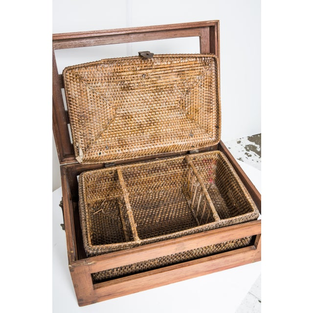 Antique Rattan & Teak Picnic Basket - Image 6 of 7